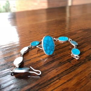 Vintage Jewelry - Vintage Spiderweb Turquoise Ring and Bracelet Set